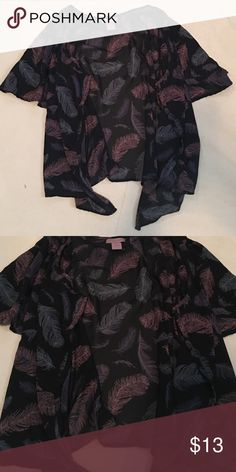 Feather Kimono Beautiful sheer kimono. The colors on this piece are so beautiful together. Looks cute with anything! ultra pink  Tops Tees - Short Sleeve