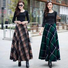41 Ideas For Skirt Long Winter Products Maxi Skirt Outfits, Winter Skirt Outfit, Komplette Outfits, Dress Skirt, Fashion Outfits, Long Skirt Fashion, Modest Fashion, Long Plaid Skirt, Tartan Clothing
