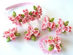 Kanzashi fabric flowers Set of 6 pieces Pink and apple by JuLVa, $35.00