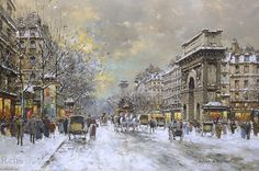 Porte St Martin et la Porte, Saint-Denis de Antoine Blanchard (Marcel Masson) (1910-1988, France)