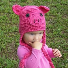 Crochet Pig Hat Pattern Oink Adorable Earflap by CrochetByDarleen