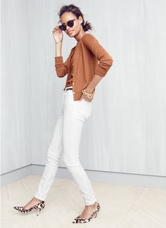 Women's Clothing - Looks We Love - J.Crew Happy white jeans are year round. Not crazy about the color of sweater set but like the look!