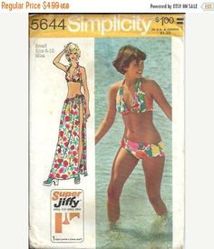 ON SALE Misses Super Jiffy Bikini and Wrap by DawnsDesignBoutique