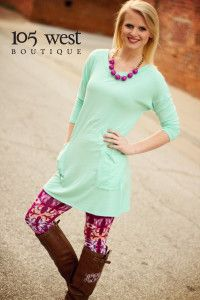 """The """"Mandy"""" Leggings.  S, M, L.  $19.99.  Shown with our Mint """"Penny"""" Tunic.   
