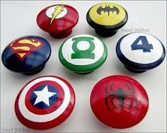Hand Painted Knob Dresser Drawer Batman Green Lantern Spiderman Superman Fantastic 4 Flash Set Of 7 on Luulla