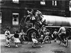 Children around a lorry, Cowcaddens, Glasgow, 1958.