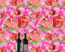 Exotic pomegranate wallpaper+5pictures  /Removable wallpaper/Remove wallpaper/Wallpaper/Peel ad stick wallpaper S076