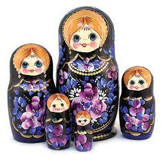 "Matryoshka ""Ulyana""   - This is an amazingly-extraordinary and breathtakingly-elegant evening nesting doll with beautiful orange hair, wearing intricate black lace!I"