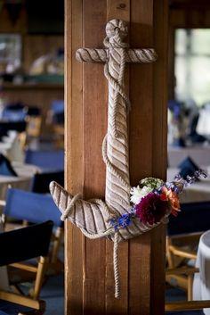 Nautical Wedding Decor with a Floral Anchor | Christina Barnum Photography on @tidewatertulle  via @aislesociety