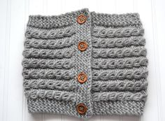Chunky Gray Mock Cable Cowl