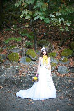 Fall bride in a scarf.