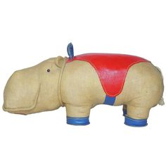 Renate Müller Therapeutic Toy 'Hippopotamus' Oversized Stuffed Animal, 1968 | From a unique collection of antique and modern toys at https://www.1stdibs.com/furniture/more-furniture-collectibles/toys/