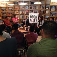 """AUC Press's third ever Book Alley Book Club meeting -- this time we're discussing Bahaa Abdel Meguid's double novella """"Saint Theresa and Sleeping With Strangers"""". We're at the AUC Tahrir Bookstore -- needless to say, it's packed!!"""