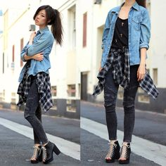 Daily Look Plaid Flannel, The Classic Acid Wash Jeggings, The Classic Cross Muscle Tee, H Shoes