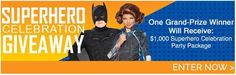 Enter the Superhero Celebration to win $1,000 Party Package from BirthdayExpress