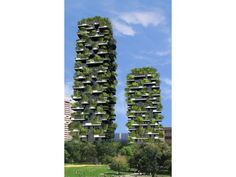 'Bosco Verticale' (Vertical Forest) by Boeristudio architects (Stefano Boeri): a vertical forest that will feature 900 trees, 5,000 shrubs & 11,000 plants— on the balconies of two residential towers in Milan, Italy.
