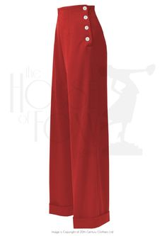 swing trousers in red for ladies, high waisted, wide leg with four shell buttons on the side. style trousers also have a turmup Ladies High Waisted Trousers, Wide Leg Trousers, Trousers Women, Pants For Women, 40s Outfits, Cute Casual Outfits, Vintage Outfits, Fashion Outfits, 30s Fashion