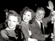 Judy Garland with Ann Rutherford and Mickey Rooney