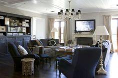Dark furnishings, built ins
