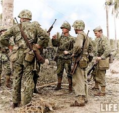 USMC - Bougainville 1943. Tried to use this camo in Europe, but we shot our own men thinking them Germans in camo. Did not offer concealment after fading or when in movement.