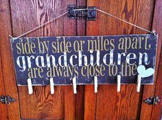 Grandchildren photo hanging handmade wooden sign. Made to order. on Etsy, $30.00