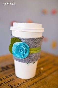 Violets are Blue Coffee Cozy with Love by Zanzalea. $17.00, via Etsy.