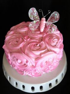 Pink Rose Cake with Butterfly
