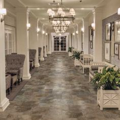 Look at this amazing entrance! This photo features Grigio Meadows 6 x 6 13 x 13 x and 20 x 20 field tile in a Modular Versailles pattern on the floor. Dal Tile, Versailles Pattern, Natural Stone Flooring, Home Garden Design, Flooring Options, Porcelain Tile, Traditional Design, Home Remodeling, Building A House