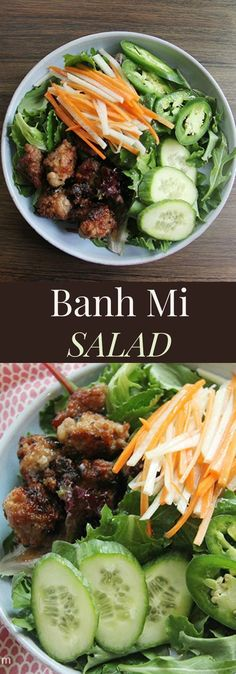 Banh Mi Salad - the traditional Vietnamese Banh Mi sandwich is reinvented in this healthy salad recipe. gluten free and low carb Banh Mi Sandwich, Salad Sandwich, Vietnamese Cuisine, Vietnamese Banh Mi, Vietnamese Sandwich, Healthy Salad Recipes, Healthy Snacks, Healthy Vietnamese Recipes, Asian Cooking
