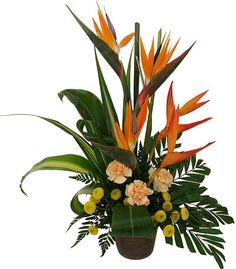 contemporary tropical pedestal floral design | Triumph - Tropical Flowers