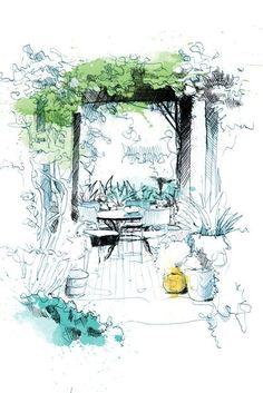 Landscape Design Principles for Residential Gardens (Garden Arbor Drawing David Despau) Landscape Sketch, Landscape Drawings, Landscape Illustration, Cool Landscapes, Space Illustration, Japanese Landscape, Desert Landscape, Watercolor Landscape, Landscape Paintings