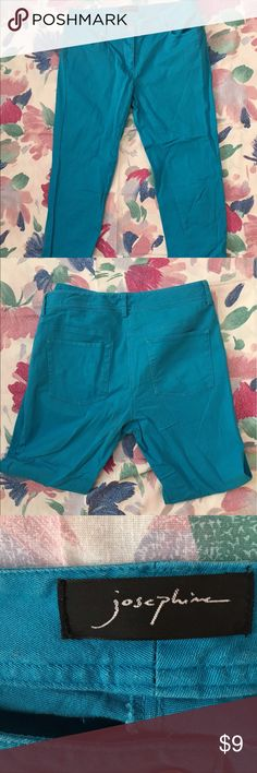 UEC Josephine Turquoise jeans size 4 Excellent condition jeans by Josephine, these are skinny legs with 4 pockets and button zip fly. Size 4 in Turquoise, they are made of 97% cotton and 3% spandex. Look like new! Josephine Jeans Skinny