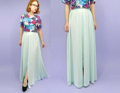 Mint Green Maxi Skirt 1970s Front Slit Large by WearitWellvintage, $38.00