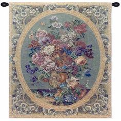 Floral Composition in Vase Cream Italian Tapestry wall hanging