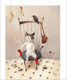 """http://www.scbwi.jp/artists/imai/index.htm  """"Puss in Boots"""" by Ayano Imai"""