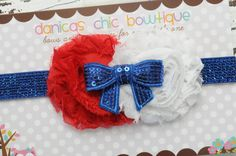 Fourth of July double shabby headband Red/White with a blue sparkle bow embellishment <3 $10.00 Plus shipping.  Made by Danica's Chic Bowtique.