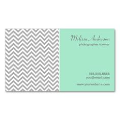 Half Chevron Pattern Gray and Mint Double-Sided Standard Business Cards (Pack Of 100). I love this design! It is available for customization or ready to buy as is. All you need is to add your business info to this template then place the order. It will ship within 24 hours. Just click the image to make your own!