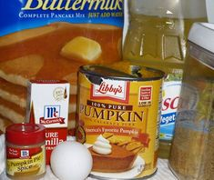 Pumpkin Pancakes! Yumm! .........  Ingredients:1 1/2 cups pancake mix1 tsp Pumpkin pie spice1 large egg1 Tbsp brown sugar, packed1 Tbsp vegetable oil1 tsp Vanilla3/4 cup canned or pureed pumpkin (or fresh cooked)1/2 cup water