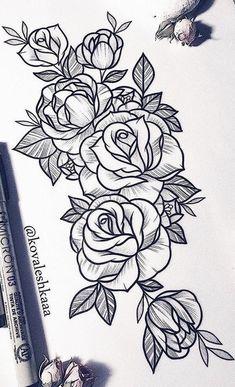 25 Beautiful Flower Drawing Information & Ideas – Rose Tattoos Rose Drawing Tattoo, Flower Tattoo Drawings, Flower Tattoo Designs, Tattoo Sketches, Flower Tattoo Stencils, Rose Tattoos, Body Art Tattoos, Sleeve Tattoos, Sexy Tattoos