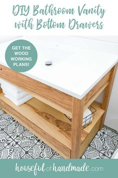 Today I want to share the free build plans for this DIY bathroom vanity with bottom drawers. Now you can build your own bathroom vanity and save money too! Bathroom Vanity Drawers, Bathroom Cabinets, Diy Home Crafts, Diy Home Decor, Decor Crafts, Lumber Sizes, Diy Drawers, Cabinet Drawers, Decorating Your Home