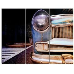 DesignArt 'Front Headlight Of Vintage Car' 3 Piece Photographic Print on Wrapped Canvas Set
