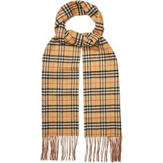 Burberry Classic Vintage-check reversible cashmere scarf ($590) ❤ liked on Polyvore featuring accessories, scarves, beige multi, burberry, cashmere shawl, vintage shawl, reversible scarves and fringe shawl