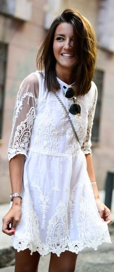 lovely dress. I love white lace in the summer
