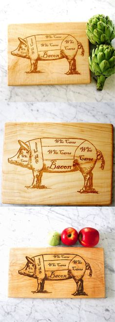 Locally sourced maple, engraved with an image I created using a vintage butchers diagram to show the only part of the pig that bacon lovers care about. | Made on Hatch.co