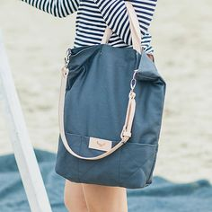 Gray cotton tote handbag SEAL / natural leather by MOOSEdesignBAGS, $135.00