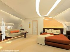 This master bedroom in a private plane is larger than what you would find in the average home.