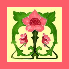 """67 Art Nouveau tile by Rhodes (1905). Courtesy of Robert Smith from his book """"Art Nouveau Tiles with Style"""". Buy as an e-card with a personalised greeting!"""