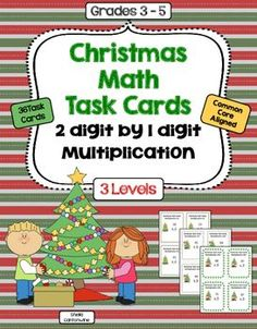 These 36 Christmas themed task cards cover 2 digit by 1 digit multiplication.  These task cards are differentiated and include 3 different levels: Level 1 is Basic, Level 2 is Intermediate, and Level 3 is Advanced.  Each level contains 12 task cards for a total of 36 different task cards.