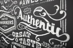 UNITED ADWORKERS | Membership Card Chalk Art by Kelsey Barnowsky, via Behance #typography #art #lettering