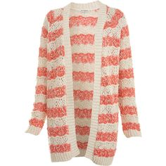 Wavey Stripe Cardi (49 AUD) ❤ liked on Polyvore featuring tops, cardigans, sweaters, outerwear, jackets, striped cardigan, stripe top, pink cardigan, pink striped top and miss selfridge
